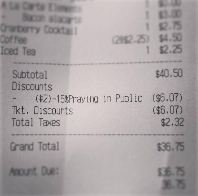 """Mary's Gourmet Diner Adds Extra Item To Receipt After Customer """"Prays In Public"""""""