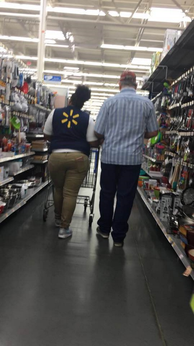 Walmart Employee Brittany Walton Helps Blind Man With His Shopping