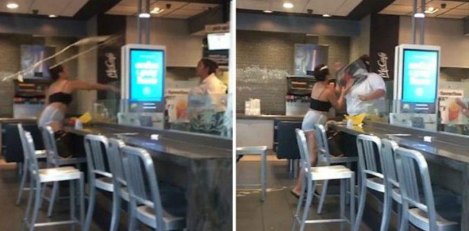 Boobs Go Flying As McDonald's Worker Clobbers Customer