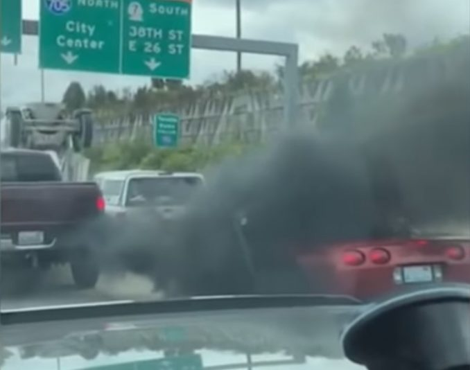 Red Corvette Driver Rolls Down Window & Flips The Bird, Gets Taught Lesson