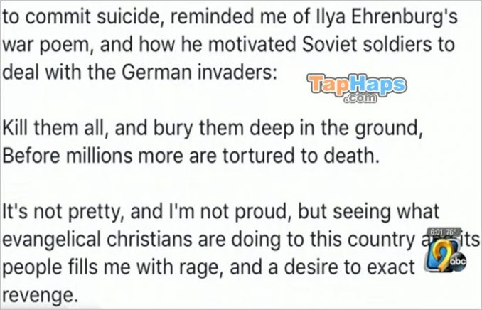 Jeff Klinzman Professor Calls For Killing Christians