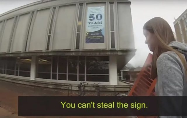 Create Equal Abortion Rights Advocate Cries Begs Pleads With College Cop After He Arrests Her For Stealing Pro Life Sign