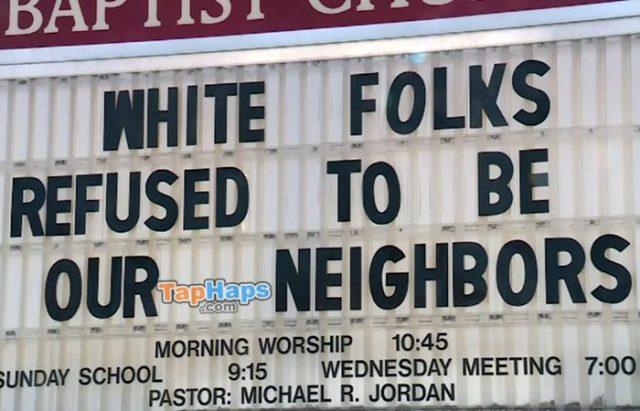 Pastor Michael Jordan Racist Church Sign